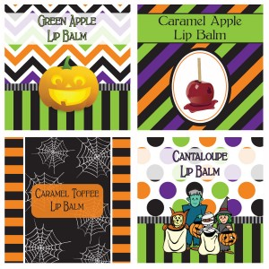 The super cute Halloween Lip Balm label designs!