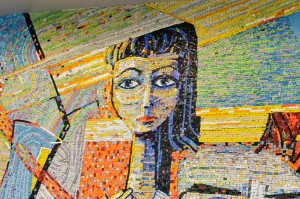 A woman's face in mosaic.