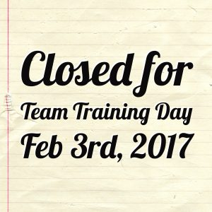 Closed for Team Training!