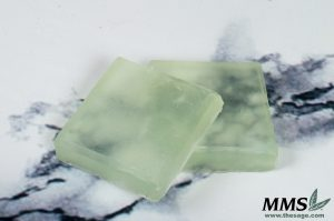 Finished bars of Wild Mint & Ivy transparent soap.