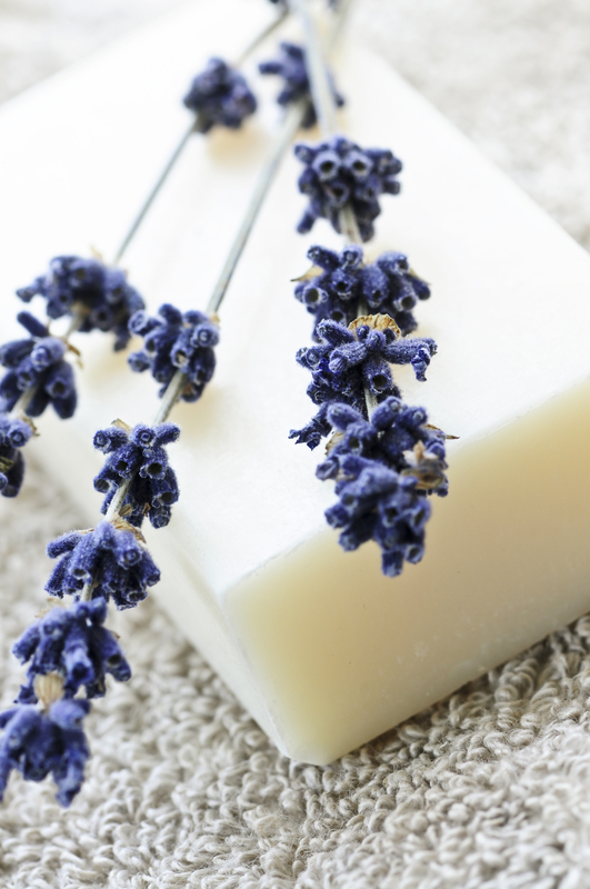 An uncolored bar of soap with dried lavender.