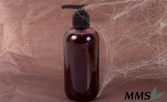 A finished bottle of Bloody Body Wash ready for labels.