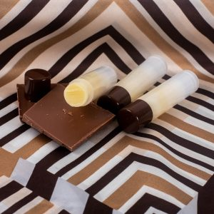 Finished tubes of Chocolate Mint Lip Balm.