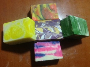 Soaps made with the gorgeous Dayglo colors!