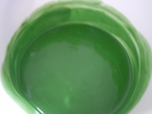 The Moss Green is completely mixed into the raw soap.