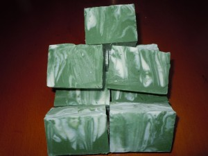 Bars of soap after being cut.