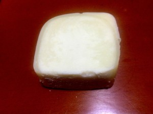 Soap after being cut.