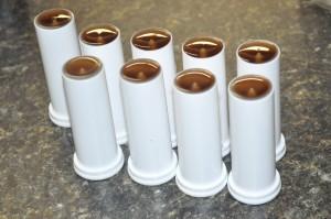 Filled lotion bar tubes.