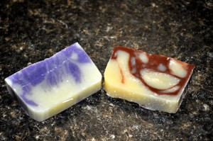 Bulgarian Lavender Soap on the left and Cinnamon Rosemary Soap on the right.