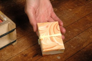 A look at a finished bar of soap.