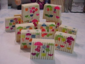 Cut up soap ~ can you see the Circles on top, Tiny Cubes in the middle & bottom and the Bottle Cubes?