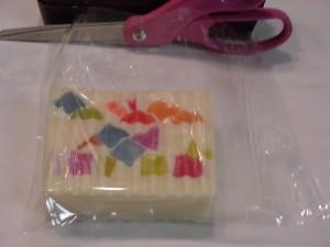 Bar of soap in 6 x 6 Shrink Bag.