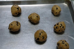 Rolled cookie dough on the sheet.