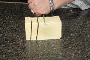 Cutting the soap.