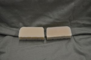 Apricot Freesia scented soap on the left and control on the right.