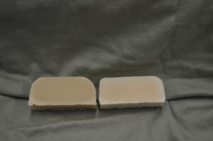 Enchanted Apple scented soap on the left and control on the right.