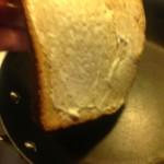 Placing bread slice down