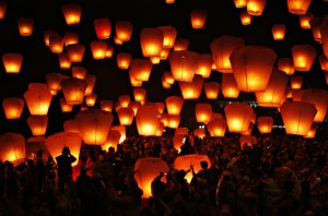 Sending Off Lanterns for the Lantern Festival