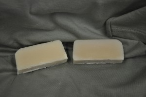 Lemon Verbena scented soap on the left and control on the right.