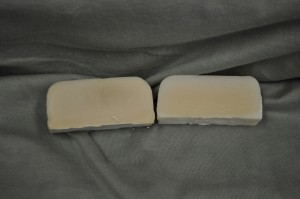 Peach scented soap on the left and control on the right.