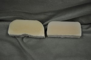Pink Grapefruit scented soap on the left and control on the right.