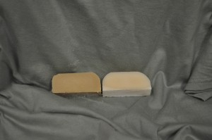 Plumberry Spice scented soap on the left and control on the right.