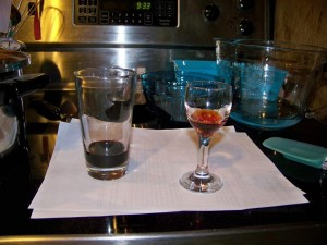 Red wine, flavor oil and lye solution.