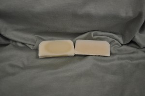 Sahara Sandalwood scented soap on the left and control on the right.