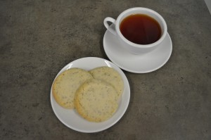 Finished Cookies with a Cup of Vanilla Tea