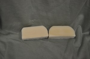 The Meadow scented soap on the left and control on the right.