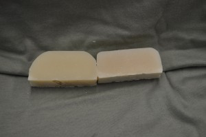 White Sage scented soap on the left and control on the right.