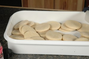 Baked cookies, ready to frost.