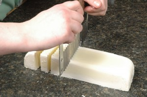 Cutting Monday's soap.