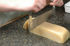 Cutting Tuesday's soap.