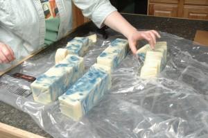 Finished cutting the swirled soap.