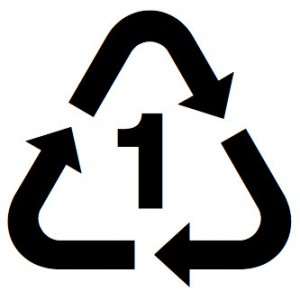 Recycling symbol for PET plastics.
