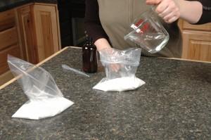 Add oil to sugar.