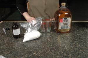 Collect items for Olive Sugar Scrub.